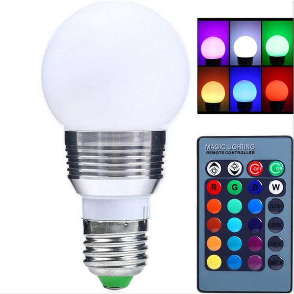 AC85V-265V E27 E14 dimmer RGB LED Bulb Candle lâmpada 5 W 7 W LED RGB ponto de luz mágica feriado iluminação + IR Controle Remoto 16 cores