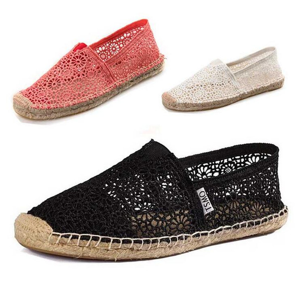 Large size 35-40 New Casual Cutout Fabric Net Women Flats Shoes Summer Sandals Flat shoes Hot sale Cute Black Red Beige