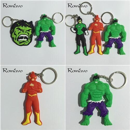 Hot!20pcs Super Hero keychain High quality Lovely The hulk The Avengers Flash Green Lan CARTOON collection PVC Llavero Chaveiro