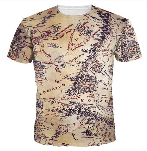 Newest Fashion Mens/Womans The Middle Earth World Map T Shirt Summer ...