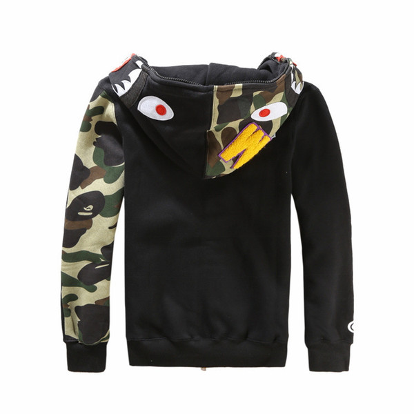 top popular Fashion mens shark hoodies Embroidery Shark MA1 Flight Male Tide Shark Hoodie Men 's Couples Hooded Jackets 2019