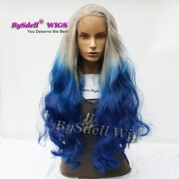 Synthetic wigs loose wave Grey Ombre Bllue color Hair pelucas Lace Front Wigs for black women full front lace wig