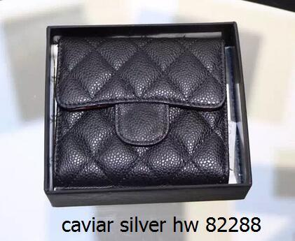 82288 Black Classic Short three Folding Card ID Holder women wallet genuine leather famous Short Wallets