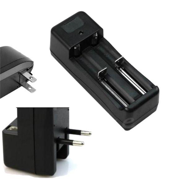 Al por mayor-EE. UU. UE Dual ranura Cargador de pared Cargador de batería de la antorcha para 18650 3.7V batería de iones de litio recargable