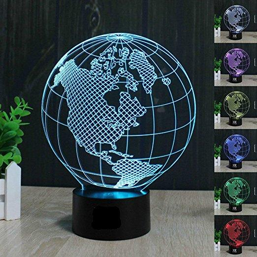 Earth America Globe 3D Illusion LED Night Light 7 colour Desk Table lamp Gifts for kids
