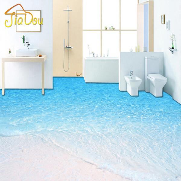 Großhandels Kundenspezifische Foto Fußboden Tapete 3D  Strand Seewasser Wohnzimmer Badezimmer