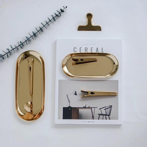 Placa de almacenamiento de joyería de acero inoxidable Collar de bandeja de almacenamiento de anillo 23 cm * 9.5 cm 3 colores Accesorios plato de almacenamiento