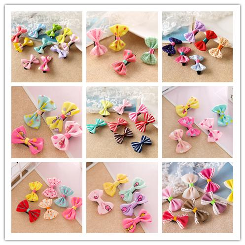 best selling Girls Bow Knot Hair Clips Floral Printed Hair Pins 55 Candy Colors Barrettes Korean Styles Children's Hair Clips Claws DHL Free shipping