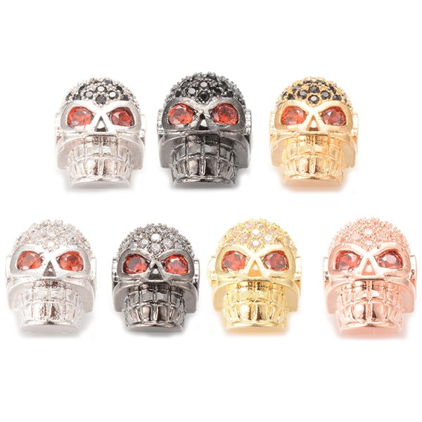 Factory Direct Sale Skull Micro Pave Spacer Beads For Jewelry Making ICYS016 Size 13.3*10.10mm