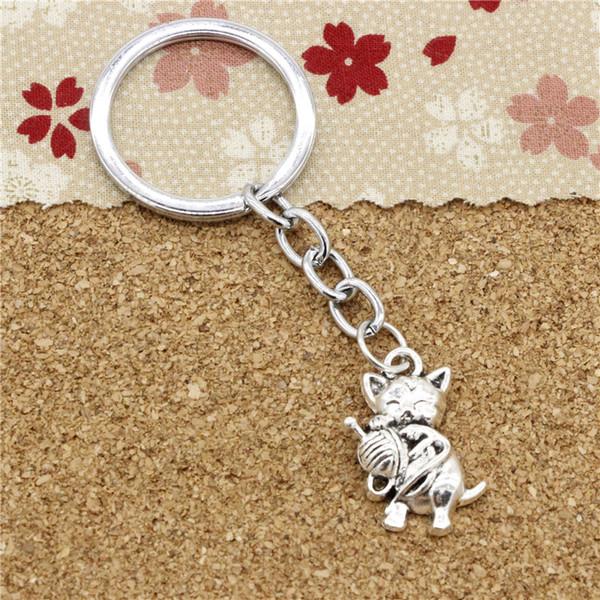 15pcs Fashion Diameter 30mm Metal Key Ring Key Chain Jewelry Antique Silver Plated cat yarn ball 25*15mm Pendant