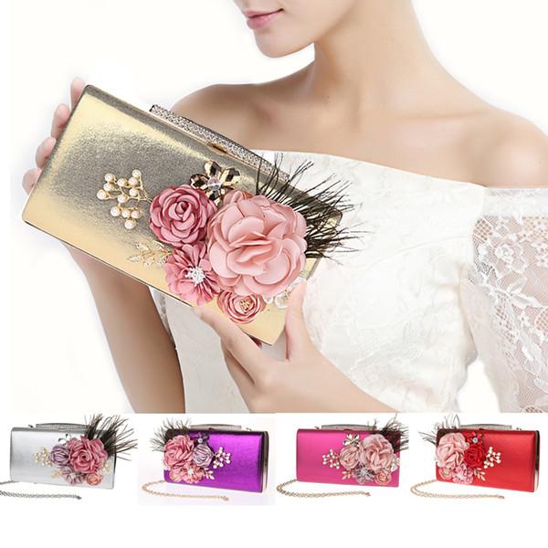 Fashion Elegant Peony Flower Pearl Rhinestone Feather Clutch Banquet Bag Purse Wedding Bridal Handbag Chain strap 7 color For choose 12077