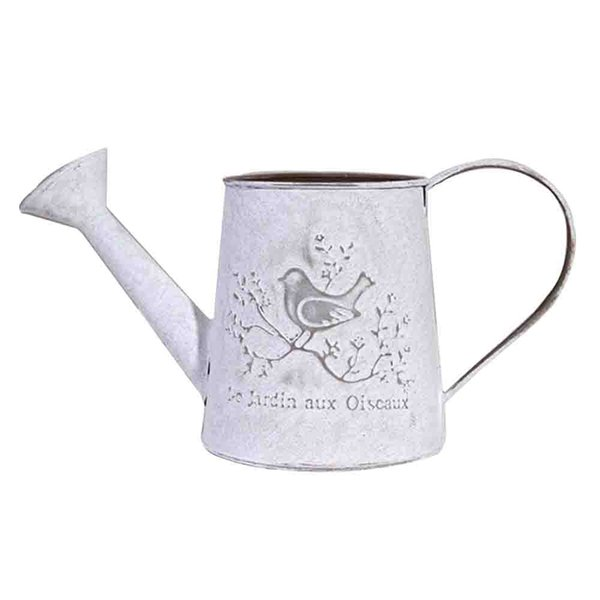 top popular French Style Rustic White Shabby Chic Mini Rustic Metal Garden Decor Watering Can For Home Wedding Decoration 2021