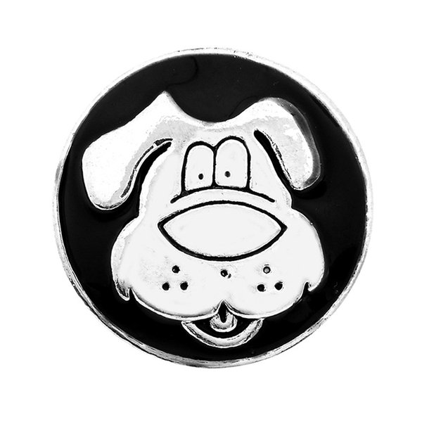 10PCS dog black oil ginger snap button for 18mm button snap metal bracelet &necklace gift