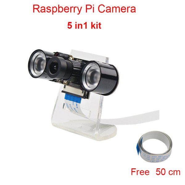 Freeshipping Raspberry Pi Camera RPI Focal Adjustable Night Version Camera + Acrylic Holder + IR Light + FFC Cable for Raspberry Pi 2 / 3