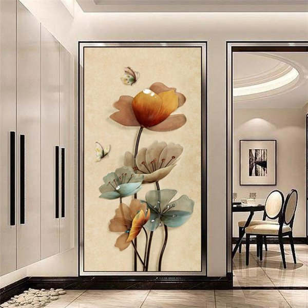 European Style Retro Simple Oil Painting Floral Butterfly Wallpaper Wall Painting Arcade Decorative Wallpaper Wallpaper Seamless