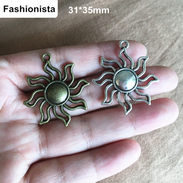 60 pcs Awesome Sun Charms Antique Bronze/Antique Silver Tone Large with Beautiful Detail 31*35mm Open Design Sun,Jewelry Findings