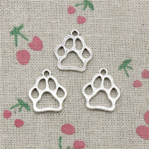 117pcs Charms dog bear paw 19*17mm Antique Silver Pendant Zinc Alloy Jewelry DIY Hand Made Bracelet Necklace Fitting