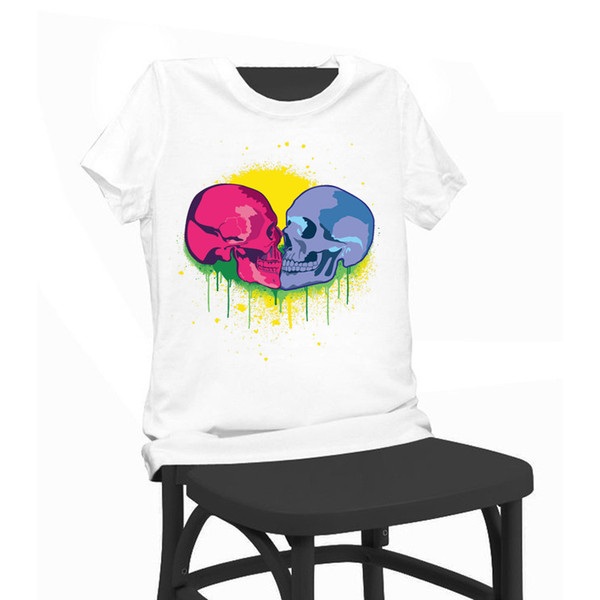 Skull Kiss Print Beauty T-shirt Funny T Shirts Short Sleeve T-shirt Tops Clothes T-Shirt de verano para mujer Lady Girl