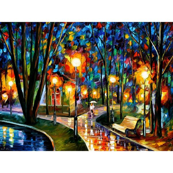 Abstract wall art Palette knife paintings Leonid Afremov park by the lake Landscapes Hand painted oil Canvas