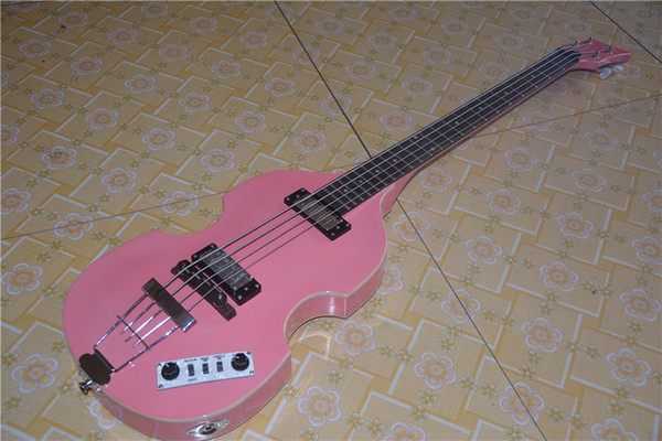 China OEM Contemporary Series Violin Bass Guitar 4 String Bass New Style electric bass.Pink Bess.EMS free shipping