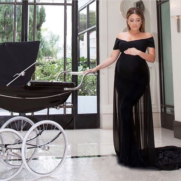 7abebd305cf8 Sexy Fitted Maternity Evening Dresses Black Spandex Chiffon Off the  Shoulder Long Formal Party Gowns Made