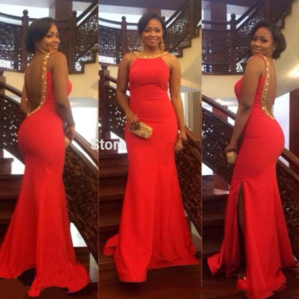 Red Long Mermaid Prom Dresses With Couture O Neck Sleeveless Open Back vestido formatura Party Gowns