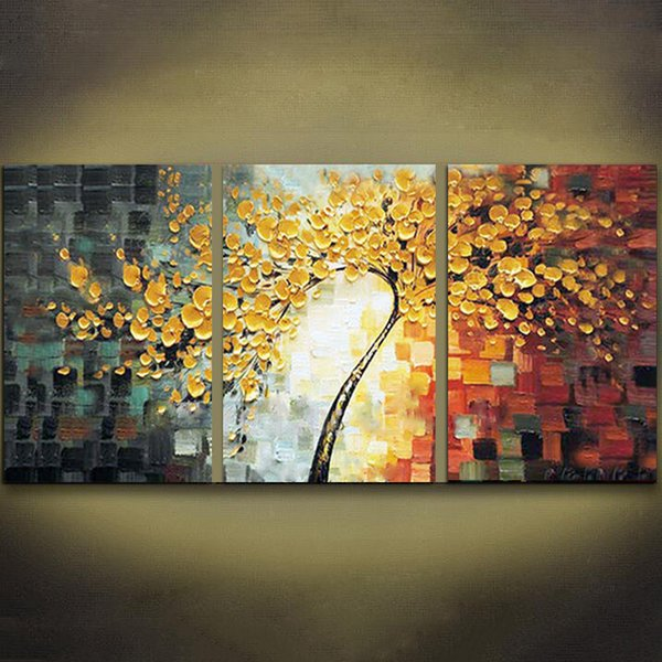 2018 Unframed 3 Panels Yellow Rich Tree Palette Knife Painting Hand ...