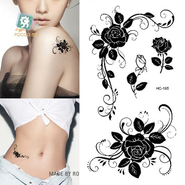 Venta al por mayor-HC1185 Mujeres Sexy Finger Flash Fake Tattoo Stickers Negro Flores blancas Rosa Diseño de transferencia de agua Etiqueta temporal del tatuaje