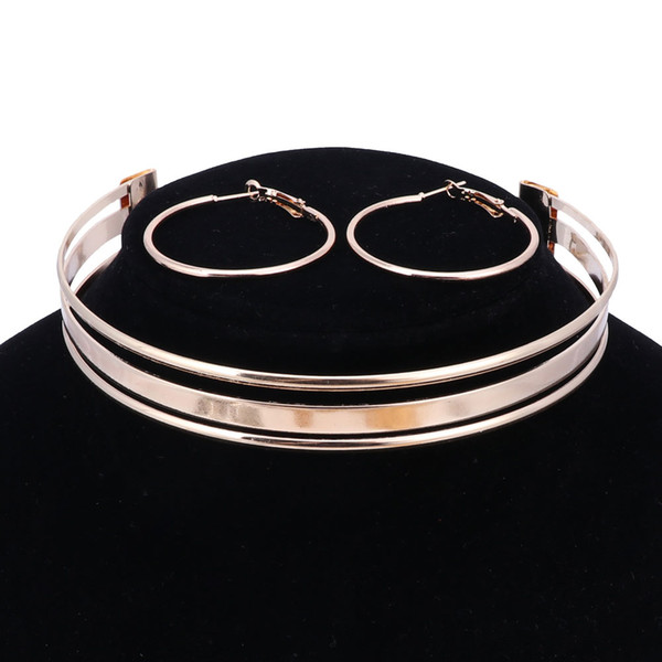 Women Punk Torques Collares Fashion Shine Metal Neck Fit Charm Bib Chokers Necklaces Statement Jewelry For Women Dress