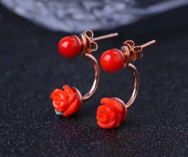 Moda orecchini di corallo rosso orecchini a forma di fiore naturale corallo rosso solido argento 925 orecchini di corallo gioielli gioiello romantico per donna
