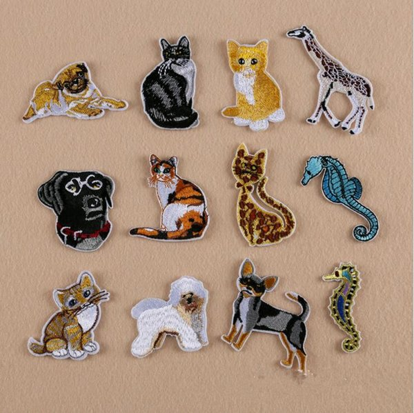 12PCS/SET Seahorse deer Cat Embroidered Iron On Patch Sewing On Animal App lique Patch for Jacket Clothes Stickers DIY Apparel Accessories