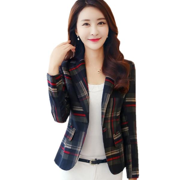 2017 Women Blazers & Jackets Classical Plaid Blazer Women Blazer Coat Casual Single Button Outerwear OL Style Short Blazer BZ009
