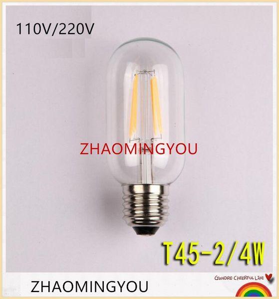 YON LED Edison Bulb T45 Retro Bombillas E27 2W 4W 6W 8W Vintage COB LED Filament Energy Saving Lamp 110V 220V For Decor Home Lighting