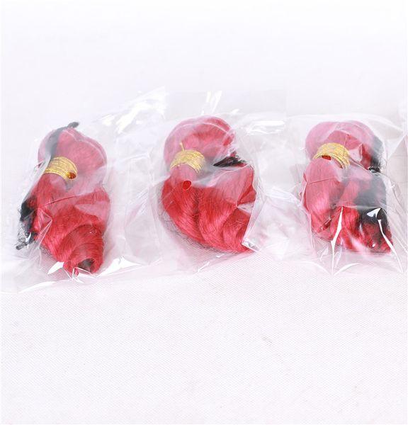 Commercio all'ingrosso brasiliano onda allentata estensione dei capelli umani a buon mercato capelli vergini 3 bundles 8a visone allentato fasci rossi fascio rosso doppia trama 9a
