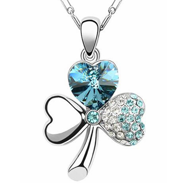 Women High Quality Full Rhinestone Three Leaves Clover Necklace Pendants Made With Crystals from Swarovski Elements 297