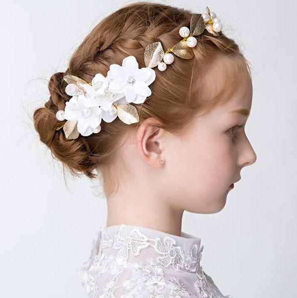 elegant gold leaf hair accessories rhinestones pearls floral girl hairband wedding and gift hair jewelry 2017