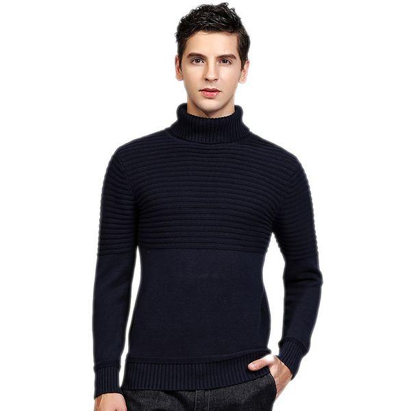 Großhandel Dicke Warme 100% Baumwolle Pullover Männer Rollkragen Männer Marke Herren Pullover Slim Fit Pullover Männer Strickwaren Doppelkragen Von