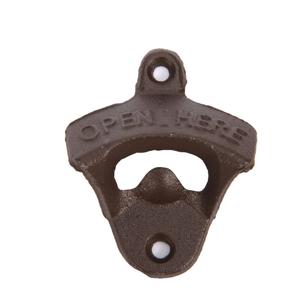 Mini Portable Brown Chic Vintage Antique Iron Wall Mounted Bar Beer Glass Bottle Cap Opener Kitchen Bottle beer bottle openers with Screw