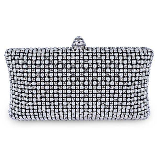 wholesale-dc1989 full crystal & pearl mesh deluxe women evening clutches with 120 cm metal chain bridal party bag black silver gold colors