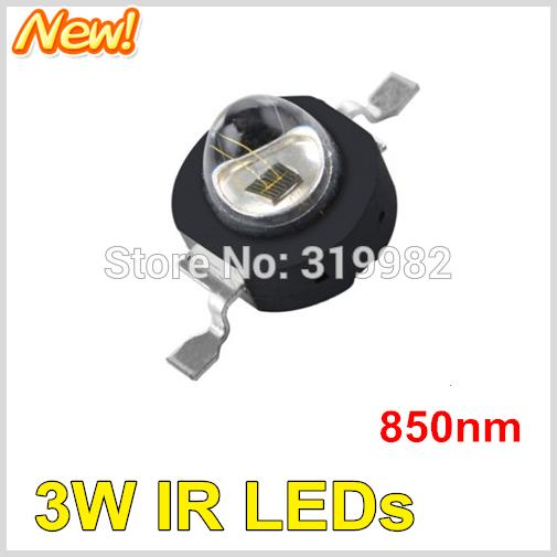 50pcs LED IR Diode 3W 850nm red storm Far Emitter Diode Black Chip Beads Ball Infrared IR Deep Red CCTV Camera Night Vision LEDs