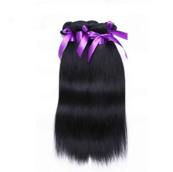 Factory price grade 5A #1 jet black Wholesale Straight brazilian peruvian 100%Virgin Human Hair Weave 50g 3 Bundles/lot Hair Extensions