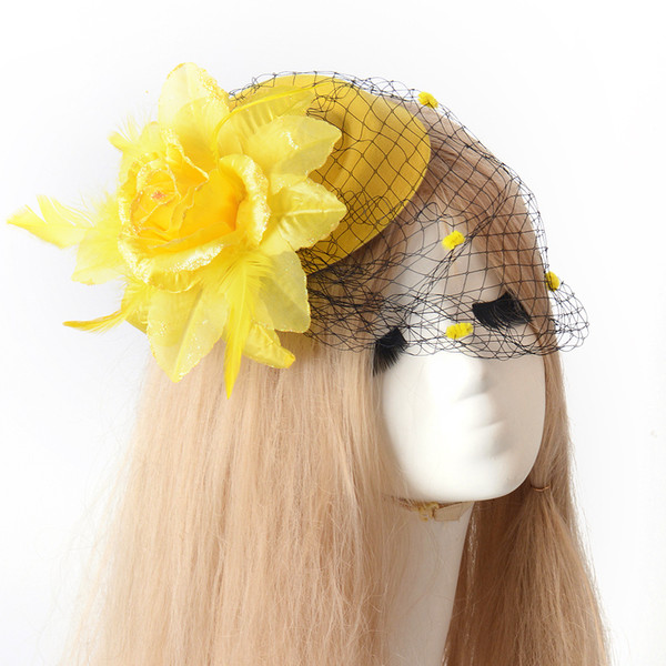 3 colors Lady Handmade Netting Flower Fascinator Hair Clip Cocktail Hat bridal Wedding Party Decoration fancy dress accessory pillbox hat