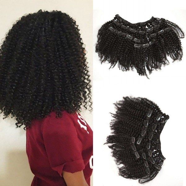 afro curly clip indian human hair extension for black women natural virgin kinky curly clips ins G-EASY