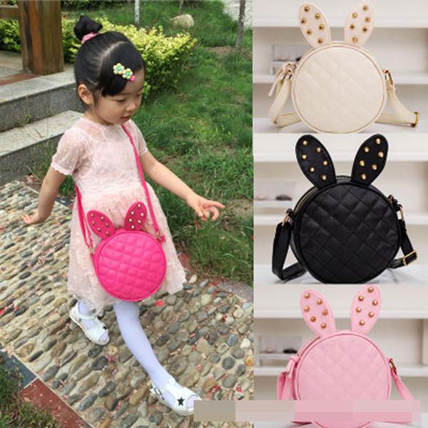 6 colores Nuevo estilo niños niñas niños moda bolso bandolera remache orejas de conejo moda chica bolso XT