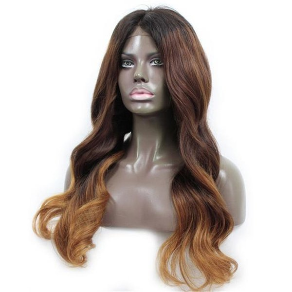 New fashion two tone indian remy hair natural wave ombre lace front wig glueless for women
