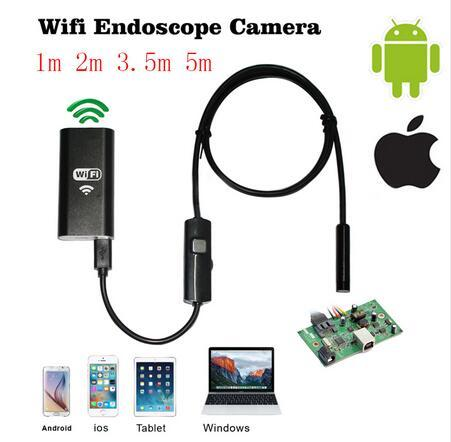 top popular 8mm 1m 2m 3.5m Wifi IOS Endoscope Camera Borescope IP67 Waterproof Inspection Iphone Endoscope Android PC HD IP Camera Not Usb 2019