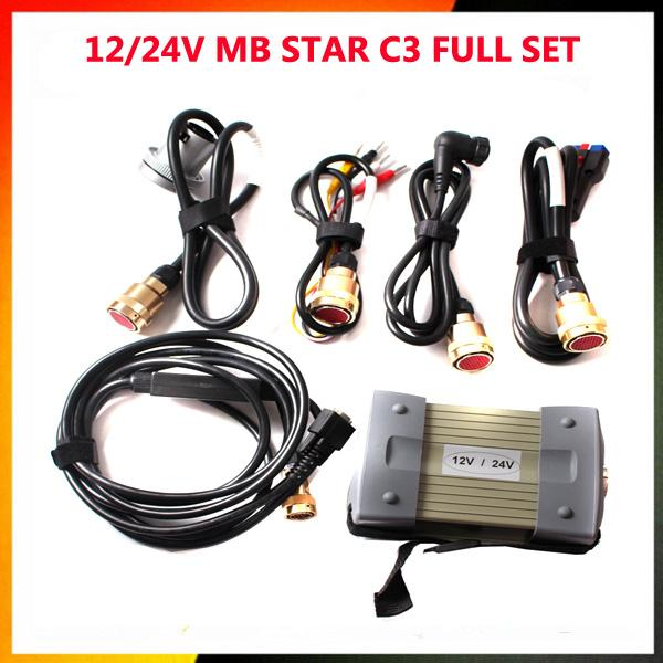 Lowest Pricein Stock 12/24v MB STAR C3 OBD2 Scanner MB STAR C3 for Mercedes Benz car truck diagnostic tool without HDD software