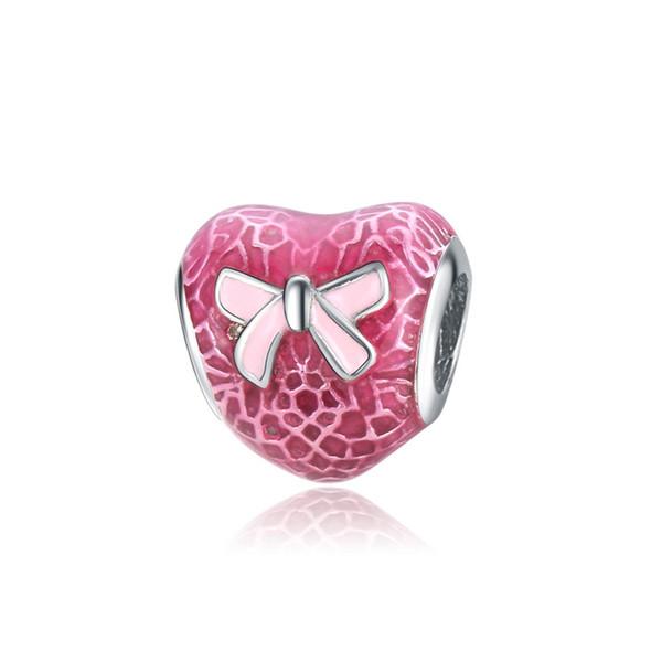 Pink Ribbon Anti-cancer Beads Heart Shape Fits Pandora Snake Bracelets Necklaces Charm DIY Charm free shipping