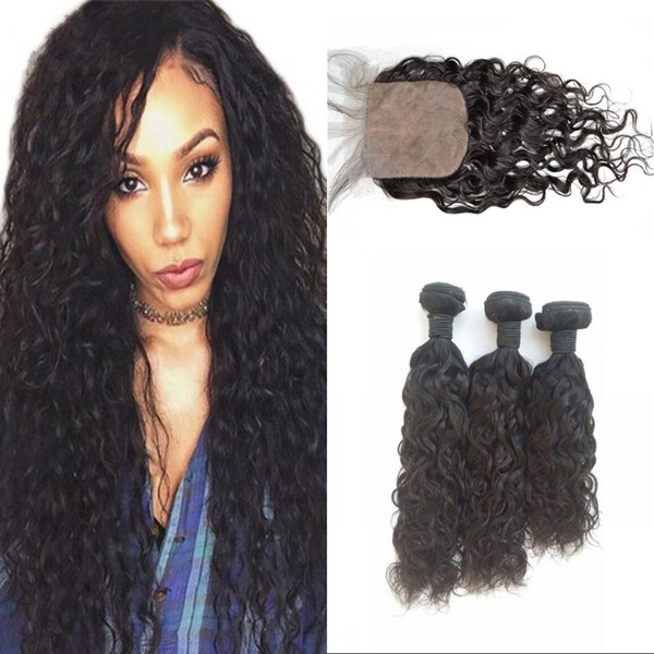 Wet and Wavy Silk Base Closure with 3 Bundles Peruvian Human Hair Weaves with Closure Hidden Knots FDSHINE HAIR
