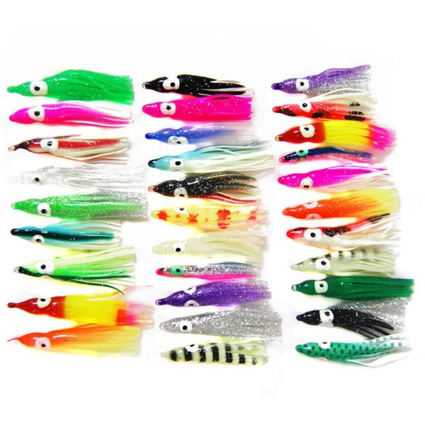 100pcs 5cm Soft Plastic Octopus Fishing Lures For Jigs Mixed Color Luminous Silicone Octopus Skirt Artificial Jigging Bait